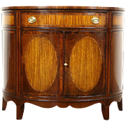 Demilune Half Round Vintage Rosewood Banded Hall Console Cabinet, Heritage