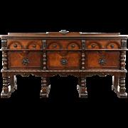 English Tudor 1925 Antique Walnut Carved Sideboard, Server or Buffet