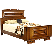 Art Deco 1930 Vintage Carved Oak Queen Size Bed, Italy