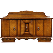 Art Deco 1930 Vintage Carved Oak TV or Hall Console or Cabinet, Italy