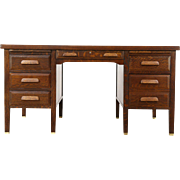 Oak Quarter Sawn 1915 Antique Desk, File Drawer, Pull Out Shelves