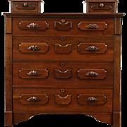 Victorian 1885 Antique Walnut Chest or Dresser, Carved Pulls