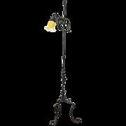 Wrought Iron 1915 Antique Bridge or Floor Reading Lamp, Cased Glass Shade