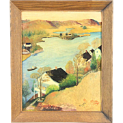 Lake Scene with Houses, 1930's Vintage Original Oil Painting Signed BJ White