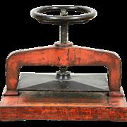 Cast Iron 1900 Antique Bookbinder Book Press, Original Worn Paint
