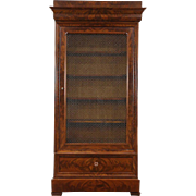 Empire Mahogany Antique Armoire or Library Bookcase, Adjustable Shelves, Germany