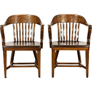 Pair 1920 Antique Curved Back Birch Banker, Office or Library Chairs