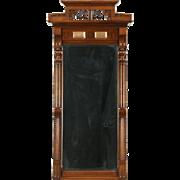 Victorian Walnut & Burl 1875 Antique Hall Mirror, Beveled Glass