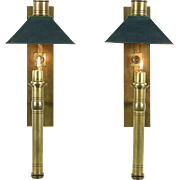 Pair of Brass Arts & Crafts Antique 1900 Wall Candle Sconces, Shades