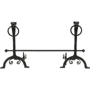 """Pair of Giant Vintage Figural Wrought Iron Fireplace Andirons, 30"""" Tall"""
