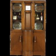 Art Deco 1935 Vintage Oak China Curio Bookcase Cabinet with Clock, England