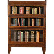 Arts & Crafts Mission Oak Antique Stacking 3 Section Lawyer Bookcase, Globe