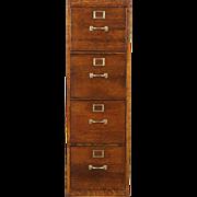 Oak 4 Drawer Vintage Quarter Sawn Oak File Cabinet, US Army Air Force