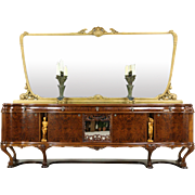 Italian Vintage Sideboard, Credenza or Bar Cabinet, Carved Figures, Gold Mirror