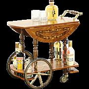 Italian Rosewood Marquetry Vintage Tea or Dessert Cart, Beverage Trolley