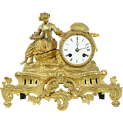 French Antique Bronze Clock, Sculpture of Girl Feeding Chicks, Signed Mourey