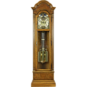 Oak & Burl Long Case Grandfather Clock, Westminster Chime, Howard Miller