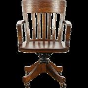 Oak Quarter Sawn Swivel Adjustable Antique 1920 Desk Chair, Arms
