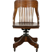 Oak Quarter Sawn 1910 Antique Adjustable Swivel Desk Chair