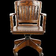 Oak 1940 Vintage Swivel Adjustable Desk Chair, Arms & Bumper