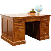 Library or Office Desk, 1910 Paneled Birch Antique, File Drawer