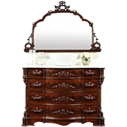 Victorian 1860's Antique Chest or Dresser & Mirror, Marble Top