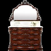 Victorian 1860's Antique Chest or Dresser & Mirror, Marble Top