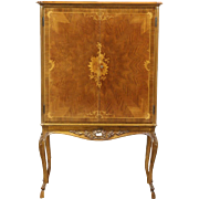 French Rosewood Marquetry 1930's Vintage Lighted Bar Cabinet