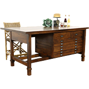 Oak 1920 Antique Architect Drafting Table, Kitchen Counter Island