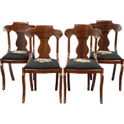 Set of 4 Empire 1830's Antique Dining or Game Table Chairs, Needlepoint
