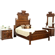 Victorian Eastlake Antique 1875 Walnut Queen Size 3 Pc. Bedroom Set, Marble Tops