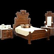 Victorian Eastlake Antique 1875 Walnut Queen Size 3 Pc. Bedroom Set, Marble Tops