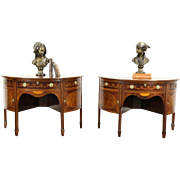 Pair of Antique Demilune Half Round Console Tables or Sideboards, England