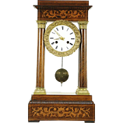 French Empire Antique 1870 Rosewood Marquetry & Bronze Pillar Clock