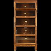 Walnut 5 Stack 1920 Antique Lawyer Barrister Bookcase, Signed Lundstrom