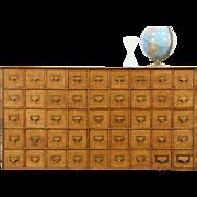 Oak Quartersawn Countertop 1910 Antique 45 Drawer File Cabinet