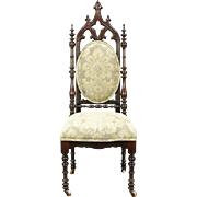 Victorian Gothic 1850 Antique Carved Walnut Chair, New Upholstery