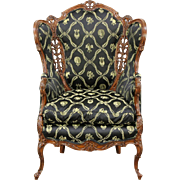 Carved 1940's Vintage Wing Chair, New Upholstery, Down Cushion