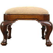 Carved Mahogany 1910 Antique Footstool, Hand Stitched Needlepoint Upholstery