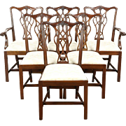 Set of 6 Georgian Style Vintage Mahogany Dining Chairs Signed Councill Craftsman