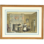 Engraving of an Interior, Attributed to Nash, 1780, Modern Frame