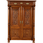 Walnut Antique 1880 Armoire Cabinet, Carved Birds & Figures, Austria