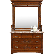 Victorian 1890 Antique Oak Marble Top Chest or Dresser, Beveled Mirror