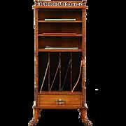 Victorian 1895 Antique Carved Music or Folio Cabinet, Magazine Rack