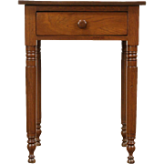 Walnut 1840 Antique Nightstand, Lamp or End Table, Octagonal Legs