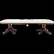 Baker Signed Banded Mahogany Vintage Dining Table, 2 Pedestals, 3 Leaves