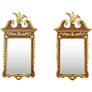 Pair of Vintage Carved Mahogany & Gold Mirrors with Eagles, Italy