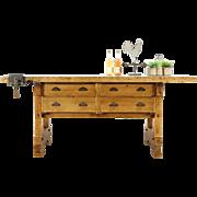 Carpenter Antique 1900 Maple Workbench, Kitchen Island, Wine Tasting Table