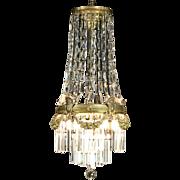 Brass & Crystal Prisms Antique 1910 Chandelier