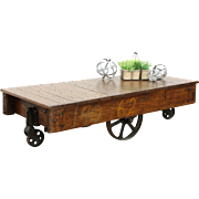 Industrial 1900's Antique Railroad Oak and Iron Cart or Coffee Table
